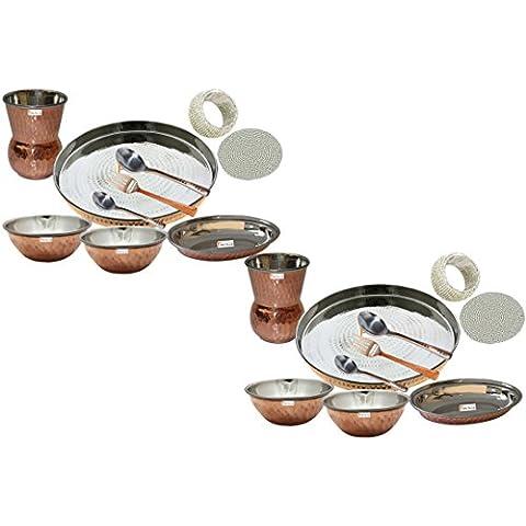 Set di 2 Prisha India artigianato indiano ® posateria in acciaio Thali rame Set 13 Dia