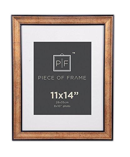 Golden State Art, 11x 14Bilderrahmen, dark Gold Braun & Bronze Zinn Panel, mit elfenbeinfarbenem Farbe Matte für Bilder 8x 10und echt Glas -