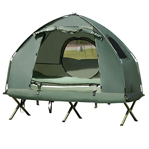 GOPLUS Camping Zelt mit Liege, Kuppelzelt mit Luftmatratze, Luftkissen Schlafsack, Liege, Wasserdicht, Insektensicher, inkl.Pumpe, für Camp, Trekking, Outdoor, Festival (Für 1 Person)