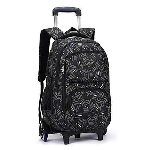 Lujiaoshout zaino per laptop unisex con ruote a ruota libera, ideale per la scuola superiore, zaino universitario, borsa da scuola, zaino da lavoro, zaino da viaggio, borsa da trasporto nera