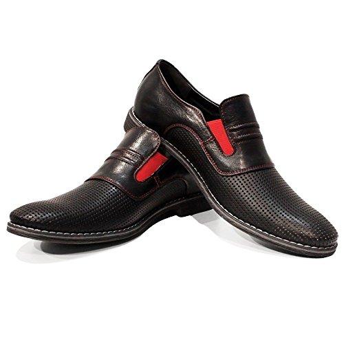 Rindleder Herren Mokassin (PeppeShoes Modello Fera - 46 - Handgemachtes Italienisch Bunte Herrenschuhe Lederschuhe Herren Schwarz Mokassins Müßiggänger und Slip-Ons - Rindsleder Geprägtes Leder - Schlüpfen)