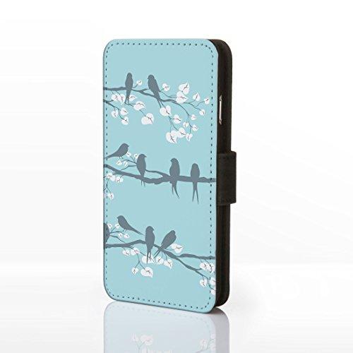 iCaseDesigner Étui à rabat en similicuir pour iPhone Motif floral Style shabby chic vintage, Cuir synthétique, Design 21: Pink and Blue Flowers on Navy Blue Background, iPhone 5C Design 10: Birds on Blue Background