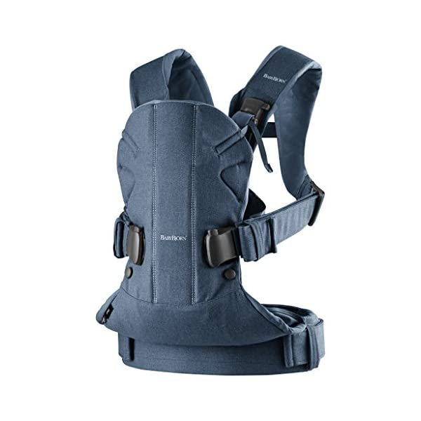 BABYBJÖRN Baby Carrier One, Cotton Mix, Classic Denim/Midnight Blue, 2018 Edition Baby Bjorn The latest version (2018) - now even more flexible and soft! Ergonomic baby carrier with excellent support. We recommend that you only start carrying your child on your back after the age of 12 months since this position does not offer the same degree of supervision 4 carrying positions: facing in (two height positions), facing out or on your back 3