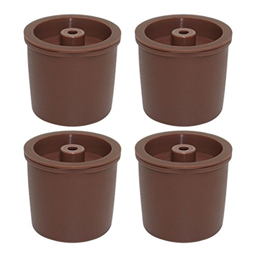 Homyl 4 Stück Wiederbefüllbare Mehrweg Kaffee Kapsel Filter für Illy - Braun - Braun Kaffee-filter Für
