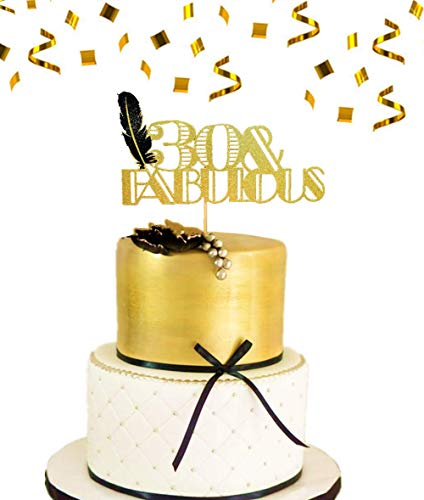y Cake Topper 30 & Fabulous Cake Topper Art-Deco-Cake Topper Schwarze Feder Cake Topper Great Gatsby Cake Decoration ()