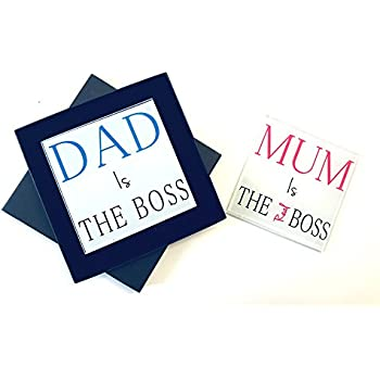 Grandad is The Boss Nanny is The Real Boss Wooden Twin Gift Coaster Set Christmas Anniversary Present