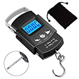 Kinstecks 110lb/50kg Fish Scales Backlit LCD Portable Electronic Balance Digital Fishing Scale Hanging Scale with Measuring Tape Ruler for Hunting Fishing Postal Kitchen