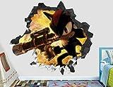 BAOWANG Stickers muraux Sonic Hedgehog Action Sticker Mural Décoration Enfants Écrasé 3D Autocollant Art Vinyle