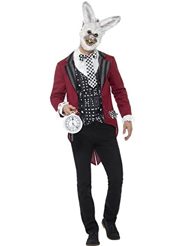 Smiffys, Herren Deluxe Weißer Hase Kostüm, Jacke, Weste, Maske und Taschenuhr, Größe: XL, 46826 (Böse Hexe Des Westens Kostüm Für Erwachsene)