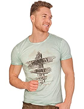 MarJo Trachten Herren Shirt - HOAMAT - Mint