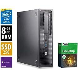 Ordinateur de Bureau HP ProDesk 600 G1 SFF - Core i7-4770 @ 3,4 GHz - 8Go RAM - 250Go SSD - Graveur DVD - Win10 Pro (Reconditionné Certifié)
