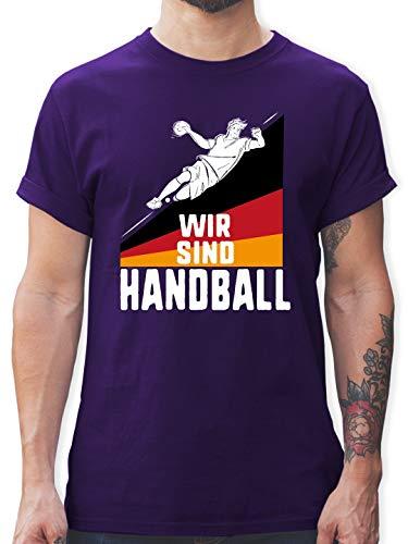 Handball WM 2019 - Wir sind Handball! Deutschland - S - Lila - L190 - Tshirt Herren und Männer T-Shirts
