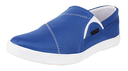 usure loafer canvas partie de chaussures pour hommes glissent sur la conduite pantoufle chaussures de sport Bleu et blanc