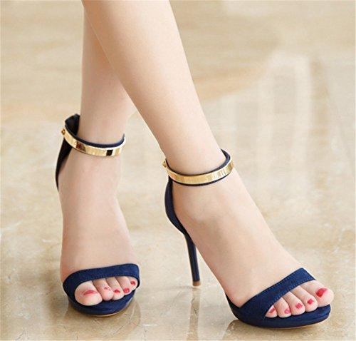 Wealsex damen sandalen sommer high heels Blau