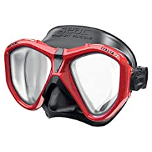 SEAC Unisex's Asian Fit Italica, Single-Lens Mask for Professional and Recreational Diving and Snorkeling, Made in Italy, Transparent/Red