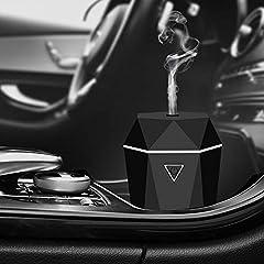 Idea Regalo - Rovtop Mini USB Diffusore Auto Umidificatore Diffusore ultrasonico di Oli Essenziali Nebbia Fresca d'Aria Senz'acqua Spegnimento Automatico per Auto Camera da Letto con Caricatore per Auto