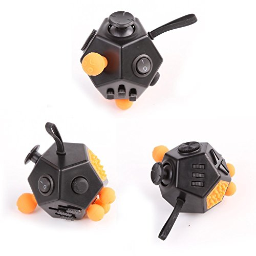 Fidget Toy Stress Reducer, Hybrid Ceramic Bearing Non-3D Printed Fidget Spinner for Autism and ADHD Kids/Adult Funny Anti Stress Toys Tri-spinner Fidget Cube (12 Sides, Black) -