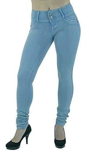 Minetom Leggings Leggins Jeggings Vaqueros Pantalones Elásticos para Mujer Azul y Negro Azul EU S