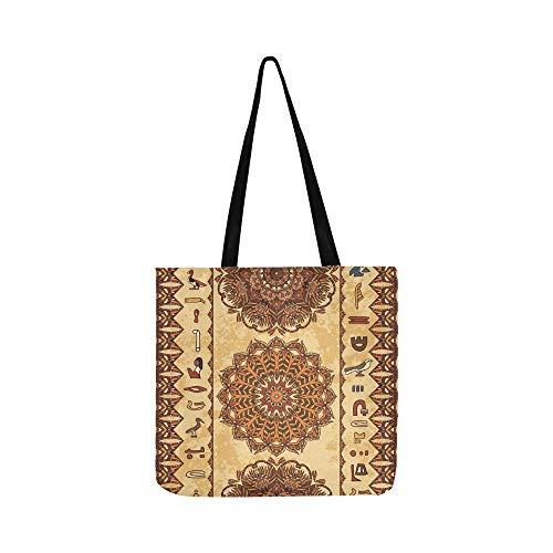 Ägypten Bunte Ornament Alte Ägyptische Hieroglyphen Leinwand Tote Handtasche Schultertasche Crossbody Taschen Geldbörsen Für Männer Und Frauen Einkaufstasche