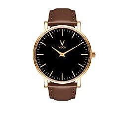Tempus 40mm Black and Gold with Brown leather strap