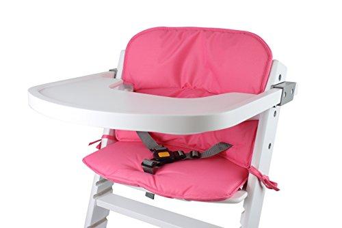 Tinydo Hochstuhl-Sitzkissen+ optimal für Timba Safety 1st. und alle gängigen Treppenhochstühle [pink] - 2teilg. Set mit Memory-Schaum-Dämpfung - Sitzverkleinerer-Auflage für Babystühle- rutschfest, pflegeleicht!