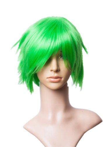 Cosplayland C556 – Vert gazon 35 cm courte couches FLIP OUT Halloween Cosplay Perruque Résistant à la chaleur