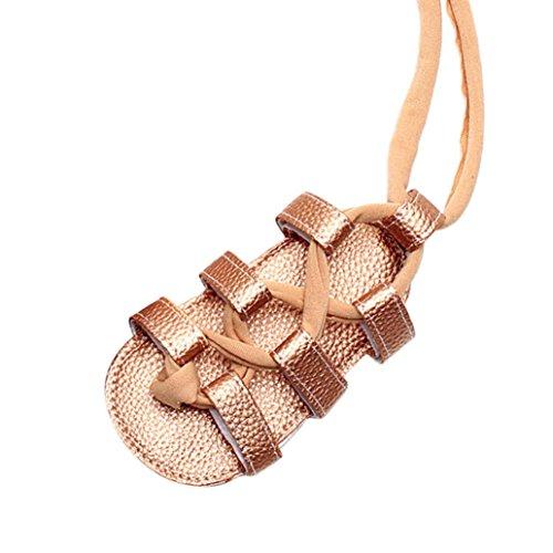 Janly Sandalen 0-2 Jahre Alt Mädchen Bandage Cross-gebundene Leder Schuhe Neugeborenen Sommer Kinderwagen Weiche Flache Schuhe (3-6 Monate, Gold) (Schnalle Sandalen Detail)