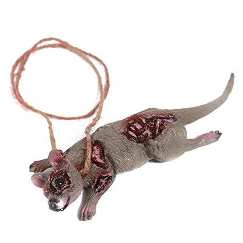 Winwinfly Gummi Halloween Requisiten beängstigend Tierform hängen Dekor Parteien liefert Spielzeug Zubehör für Erwachsene,Maus (Maus Beängstigend)