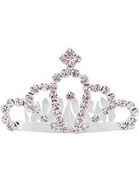 Aaishwarya Glittering Stone Studded Princess Tiara Hair Comb for Women(Small)