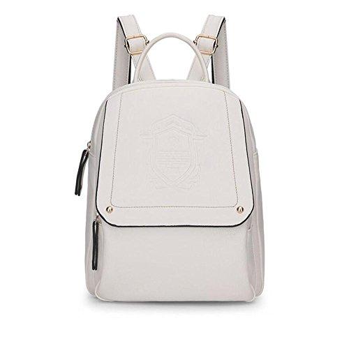 LDMB Damen-handtaschen Frauen PU-lederne leichte einfache wilde beiläufige Rucksack-Handtaschen-feste Farben-justierbare prägeartige Buchbags-große KapazitätsTaschen-Beutel-Schulter-Beutel meters white