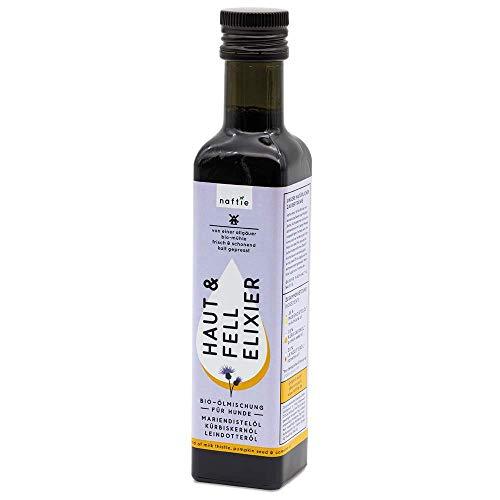 naftie Bio Hunde-Öl Haut & Fell Elexier | Ölmischung aus Mariendistelöl, Kürbiskernöl und Leindotteröl für Haut, Fell & Leber | vegan | Barf-Öl | 250ml