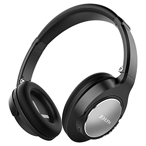 JIUHUFH Bluetooth Kopfhörer Over-Ear, Wireless Headset Faltbare mit Mikrofon, Super-HiFi, Perfekt Bass, 3,5 mm AUX, 20 Stunden Spielzeit für Handy, Tablets und PC - Schwarz thumbnail