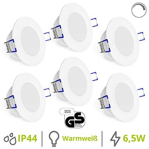 linovum® WEEVO 6 Stück dimmbare Bad LED Einbauleuchten IP44-6,5W warmweiß - runde Deckenspots 230V mit flachem Einbau 29mm