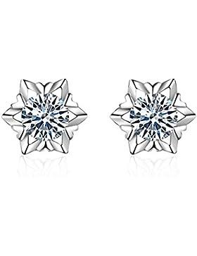 Eynoca Damen Ohrstecker Ohrringe 925 Sterling Silber mit glitzerndem Diamant weißem Kristall Schneeflocke Design