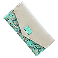 VanEnjoy Womens Wallet Floral Leather Western Trifold Clutch Gift for Girl - Green - Small