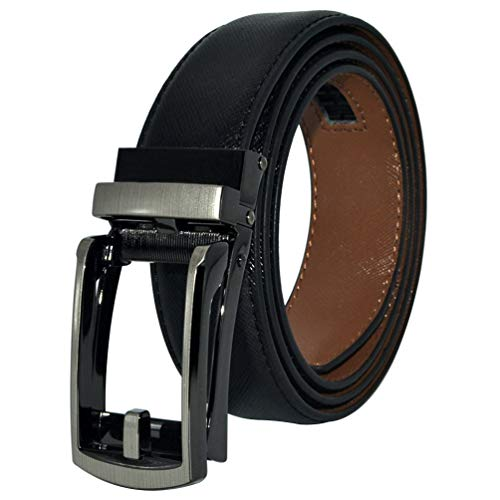 AmyKer hombre Cinturón de piel con hebilla automática. Cinturón con trinquete cinturón 30 mm