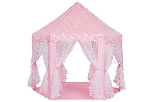 Schramm Prinzessinnenzelt in 3 Farben Prinzessin Zelt wählbar mit LED Sternen Beleuchtung Kinder Spielzelt auch als Bällezelt Bälle Kinder Zelte Spielschloß , Farbe:rosa