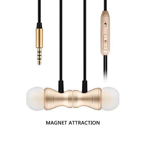 In Ear Kopfhörer, Bealviy 3.5mm Magnetische Wired Earbuds Kopfhörer, Eingebautes Mikrofon/Lautstärkeregler, Stereo Kopfhörer für Kompatibel mit Samsung, Huawei etc (Gold)