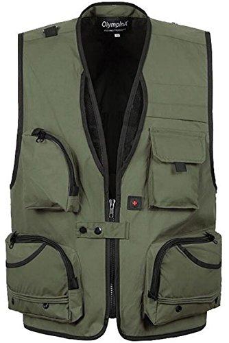 JZWXX Herren Outdoor Fischen Angler Weste Praktischen mit vielen Taschen Outdoorweste Fotografie Westen Men Vest DE02# Armee-Grün