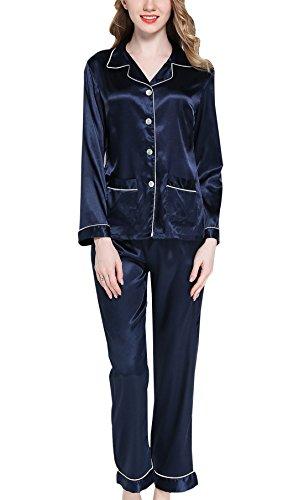 Sihuan Mujer Pijama de 2 Piezas Camisón de Satén Ropa de Dormir Manga Larga Elegante Ligero Suave - Azul Oscuro, Talla XXL