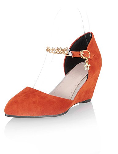 WSS 2016 Chaussures Femme-Habillé / Décontracté-Noir / Bleu / Rouge / Gris / Orange-Talon Compensé-Compensées / Talons / Bout Pointu-Talons- red-us8 / eu39 / uk6 / cn39