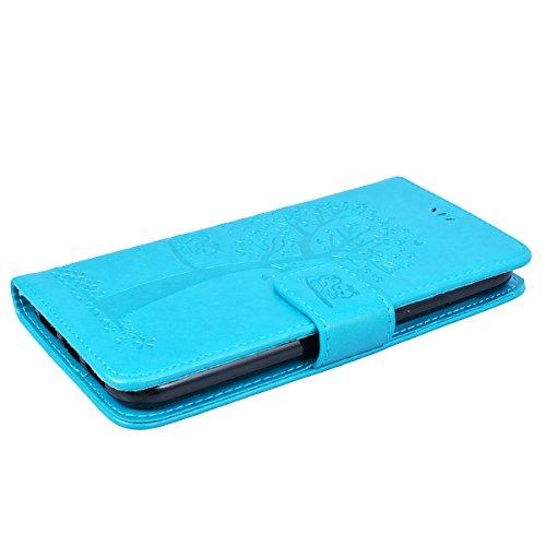 GrandEver iPhone X Ledertasche Hülle Schutzhülle Eule und Baum Retro Tasche Lederhülle mit Handschlaufe Scratch Ledercase Schale Umschlag Stil Flip Wallet Case Cover mit Weiche Silikon Innere Standfun Blau