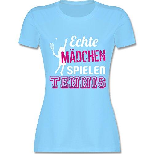 Tennis - Echte Mädchen Spielen Tennis - S - Hellblau - L191 - Damen T-Shirt Rundhals
