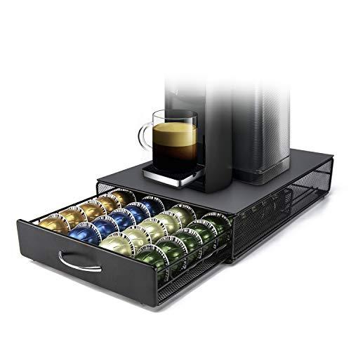 HiveNets Vertuo Kapselhalter für Nespresso VertuoLine Pods Metallgitter Kapsel Kapselspender Schublade 40 Stück