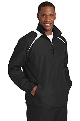 HIPI GOX Sport-Tek Men's 1/2 Zip Wind Shirt Black / White