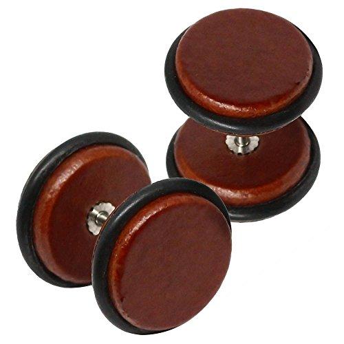 tumundo Set von 4er Set / 1 Paar Holz Fakeplugs Rund Fake Plugs Tunnel Holzohrstecker Ohrstecker Ohrring Ohr Beige Braun, Farbe:12mm - braun