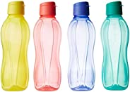 Tupperware Fliptop Plastic Bottle Set, 1 Litre, Set of 4, Multicolour