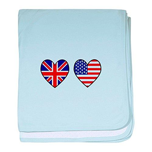 CafePress–USA UK Herzen auf weiß Baby Decke–Baby Decke, Super Weich Für Neugeborene Wickeldecke, baumwolle, himmelblau, Standard
