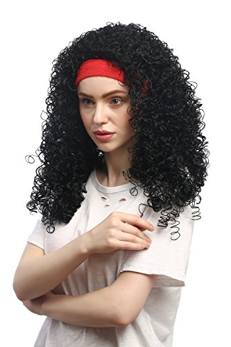 WIG ME UP - 91259-ZA103 Perücke Damen Fasching Karneval rotes Stirnband Schwarz stark gelockt Latina Karibik Tänzerin
