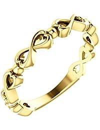 92cde21bea75 Hermoso anillo de oro amarillo de 14 quilates con diseño de corazón  infinito viene con un